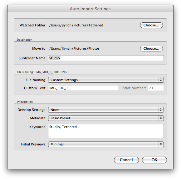 Lightroom's Auto Import Preferences