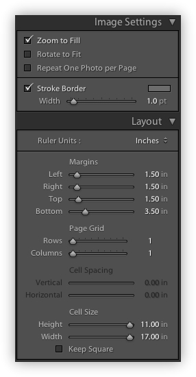 Lightroom Image Settings & Layout