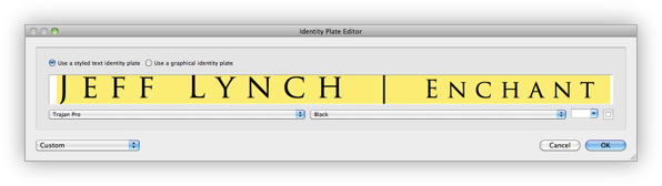 Editing an Identity Plate